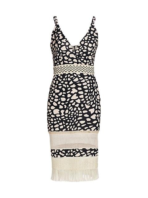 Spotted Fringe-Trim Midi Dress