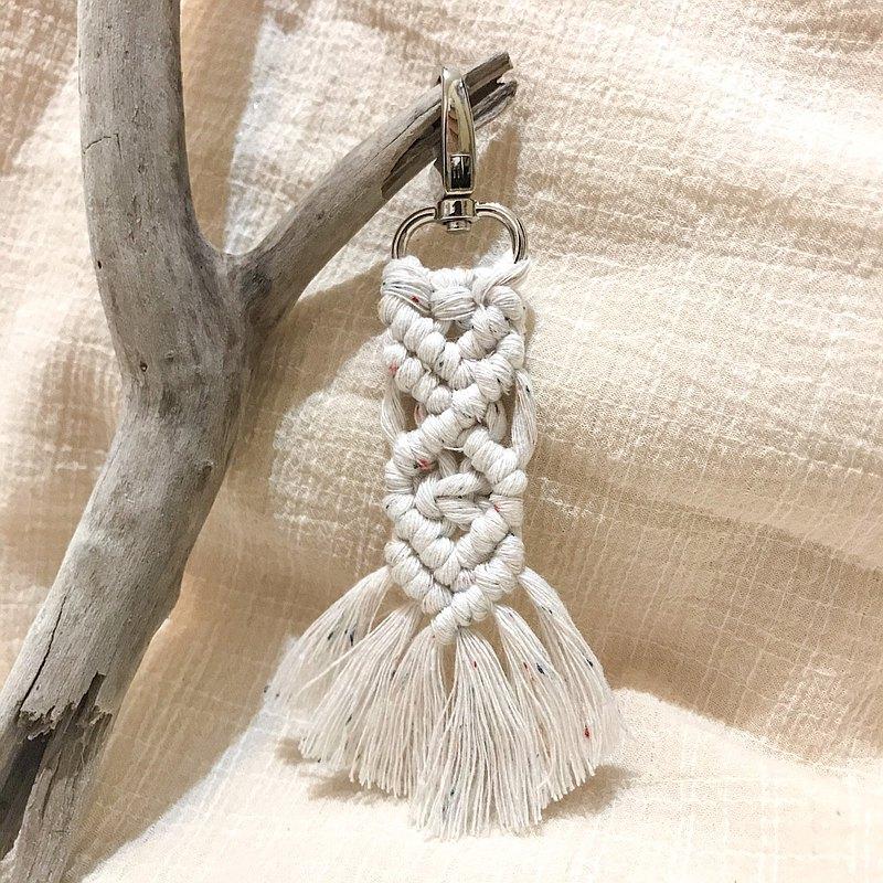 環保意識-macrame再生棉繩小雜點鑰匙圈