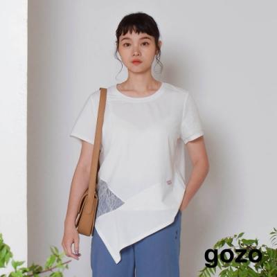 gozo-不規則拼接蕾絲上衣(兩色)