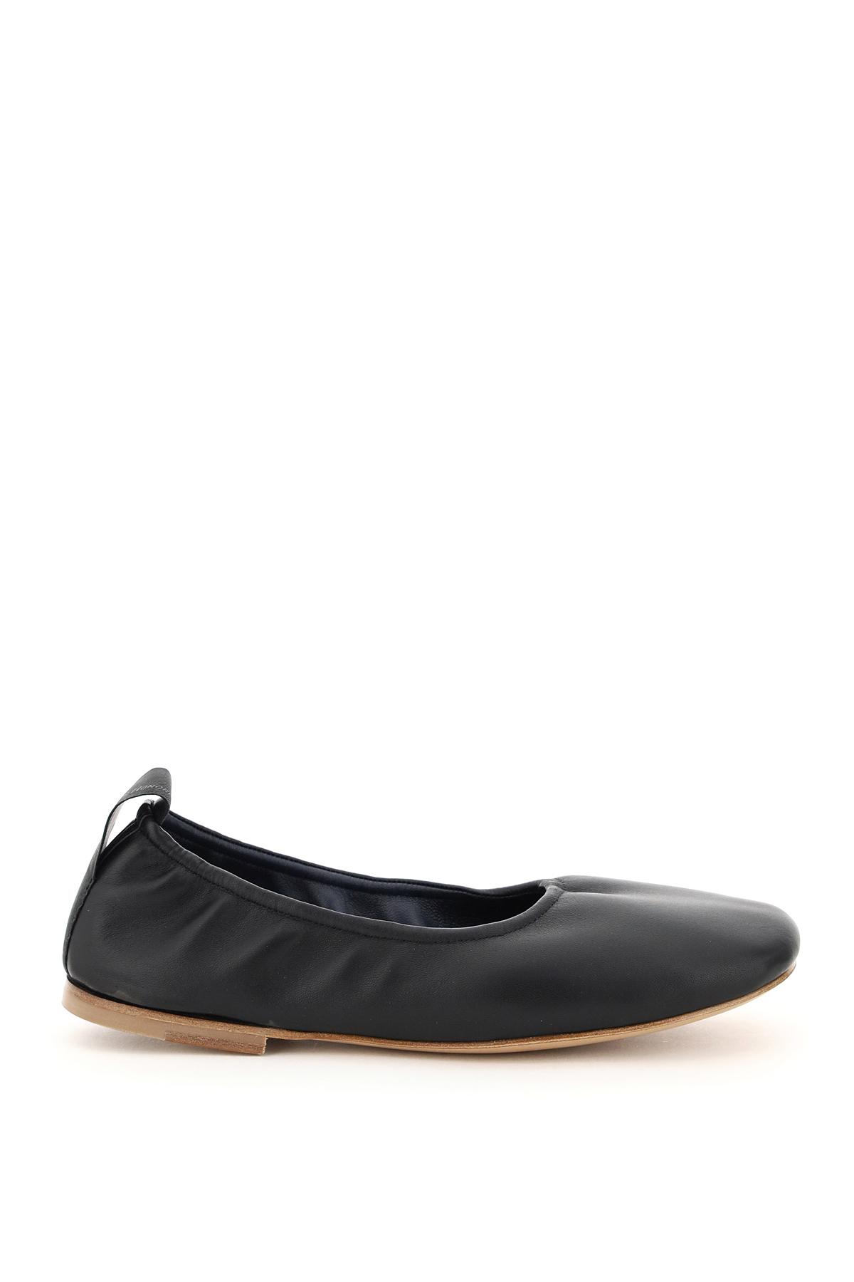 LANVIN SOFT NAPPA BALLET FLATS 37 Black Leather