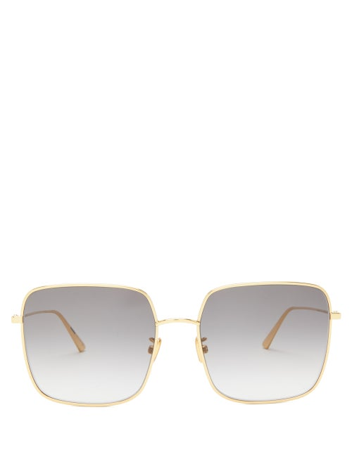 Dior - Diorstellaire Square Metal Sunglasses - Womens - Grey Gold