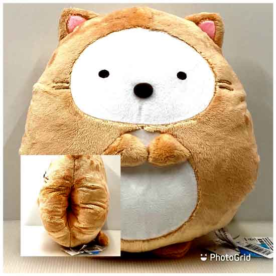 12吋角落生物 貓裝全身暖手枕 抱枕 靠背枕 - 白熊