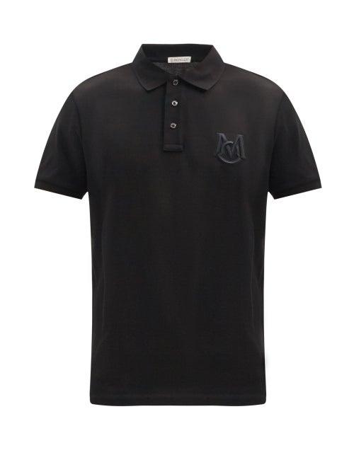 Moncler - Logo-embroidered Cotton-piqué Polo Shirt - Mens - Black