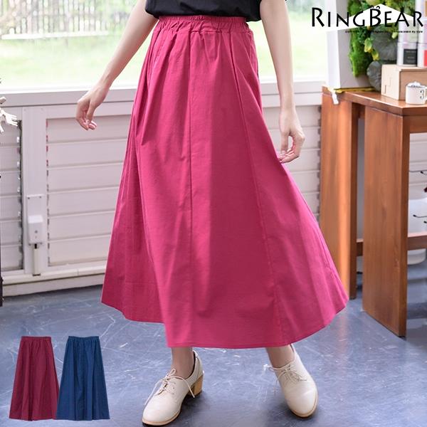 長裙--簡約大方鄰家女孩必Buy款清新素色波浪裙擺鬆緊腰棉麻長裙(紅.藍XL-4L)-Q64眼圈熊中大尺碼