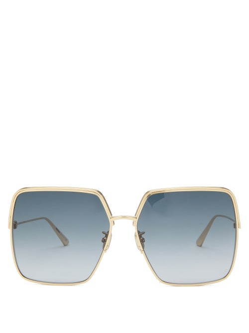 Dior - Everdior Round Metal Sunglasses - Womens - Blue Gold