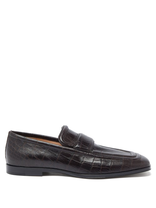 Bottega Veneta - Alligator-effect Leather Loafers - Mens - Dark Brown