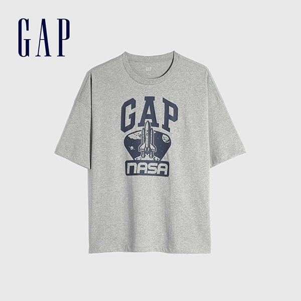 Gap男裝 Gap x NASA聯名Logo純棉短袖T恤 835801-淺灰色