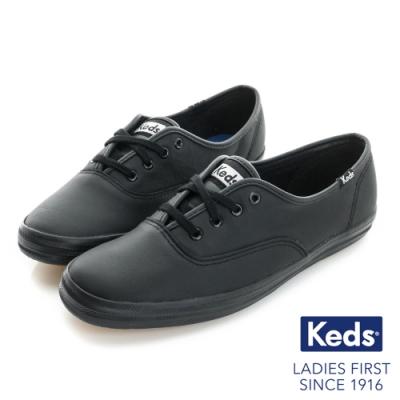 Keds CHAMPION 品牌經典皮革休閒鞋-黑