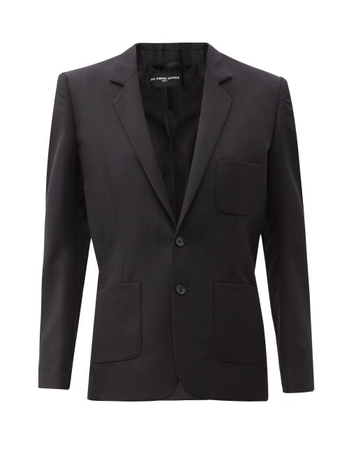 Raf Simons - Ss99 Single-breasted Wool-crepe Jacket - Womens - Black
