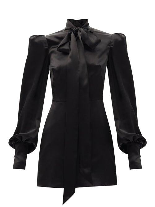 The Vampire's Wife - The Mini Mayhem Pussy-bow Silk-satin Dress - Womens - Black