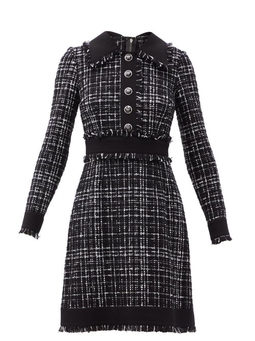 Dolce & Gabbana - Eyelash-fringed Tweed Mini Dress - Womens - Black White