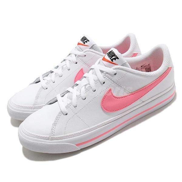 Nike 休閒鞋 Court Legacy GS 白 粉紅 大童鞋 女鞋 運動鞋 【ACS】 DA5380-103