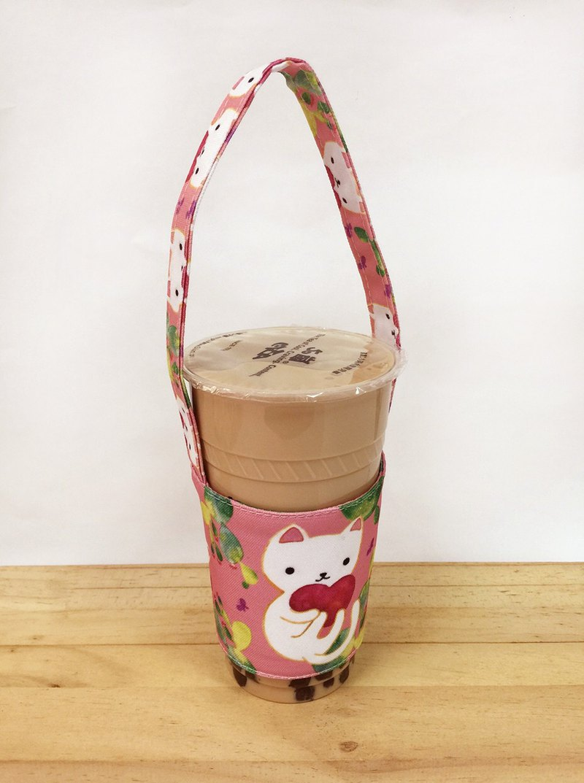 飲料杯提袋-仙人掌與白貓