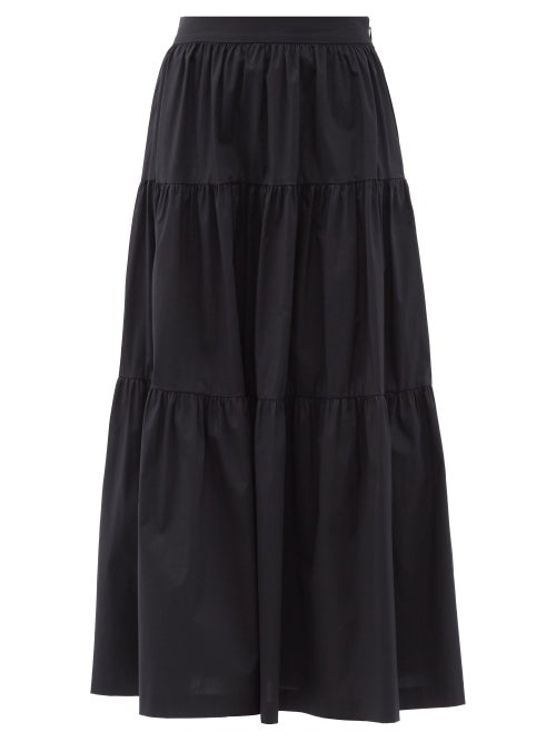 Staud - Sea Tiered Cotton-blend Skirt - Womens - Black