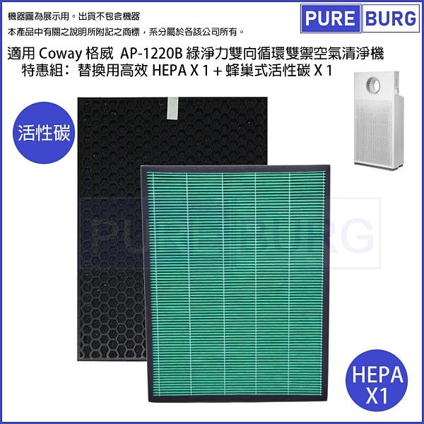 適用Coway格威AP-1220B 綠淨力雙向循環雙禦空氣清淨機 替換用HEPA+活性碳濾網心耗