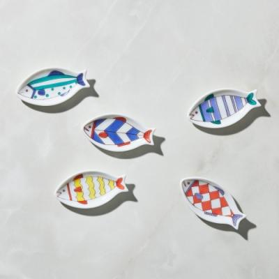 有種創意 - 日本晴九谷燒 - 魚豆皿筷架(5入組)