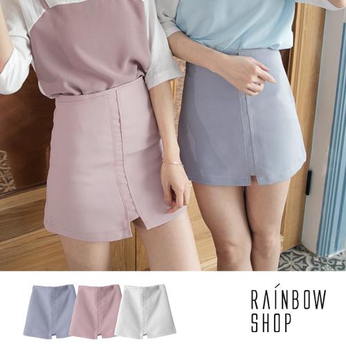 現貨-車線坑條後拉鍊短裙-J-RainbowShop【A333280】