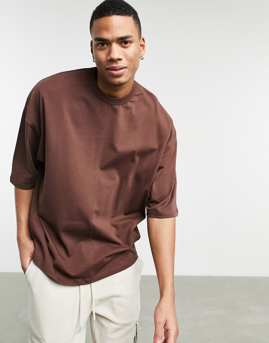 ASOS DESIGN heavyweight t-shirt with seam detail in brown