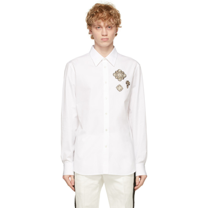 Alexander McQueen 白色 Embroidered Pearl Patches 衬衫