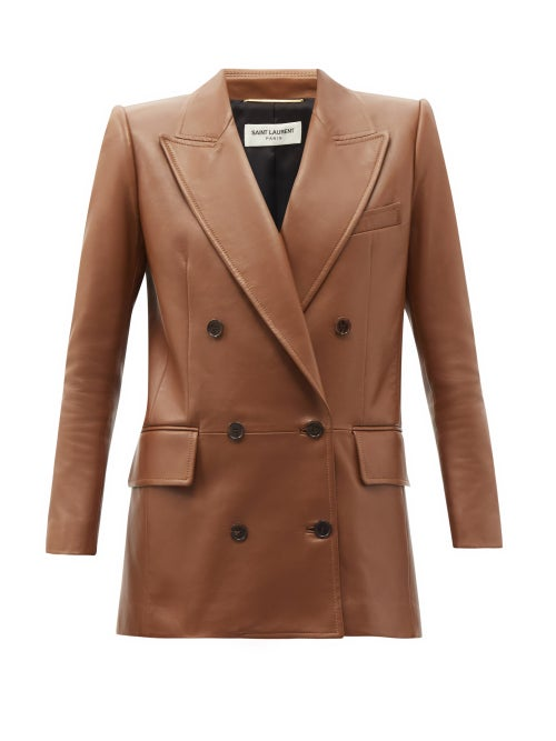 Saint Laurent - Double-breasted Leather Jacket - Womens - Light Brown