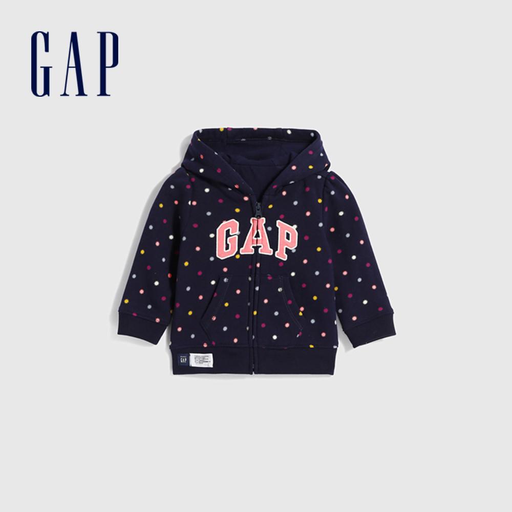 Gap 嬰兒 Logo波點熊耳造型連帽外套 619647-海軍藍