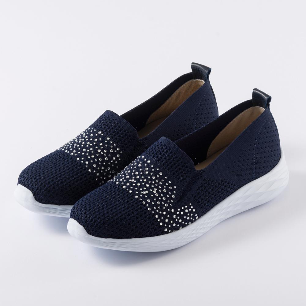 Kuru Mira水鑽微量感厚底休閒鞋-海軍藍