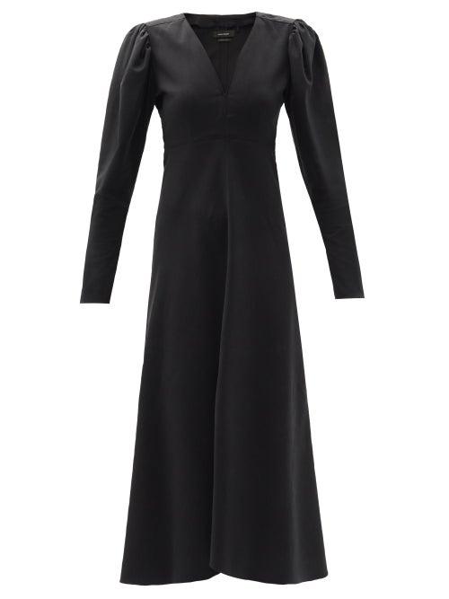 Isabel Marant - Silabi Puff-sleeve Crepe Midi Dress - Womens - Black