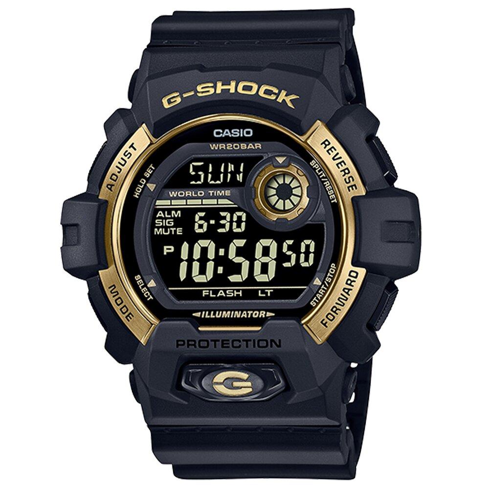 【CASIO 卡西歐】G-SHOCK 電子錶 男錶 矽膠錶帶 防水200米 礦物玻璃(G-8900GB-1)
