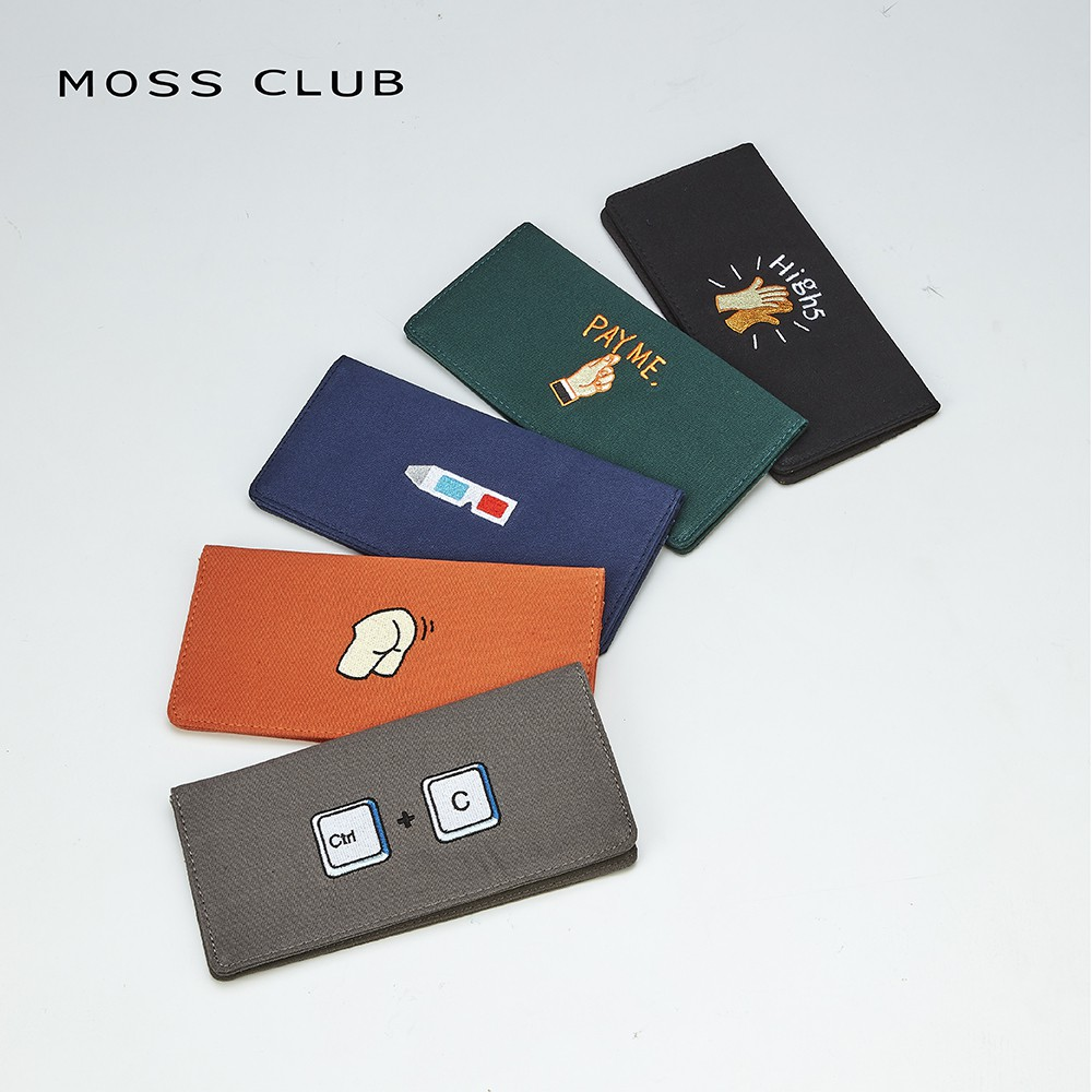 【MOSS CLUB】經典標語刺繡布-長皮夾(二色)