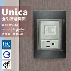 法國Schneider Unica Top雙USB插座/單插座_附接地金屬灰