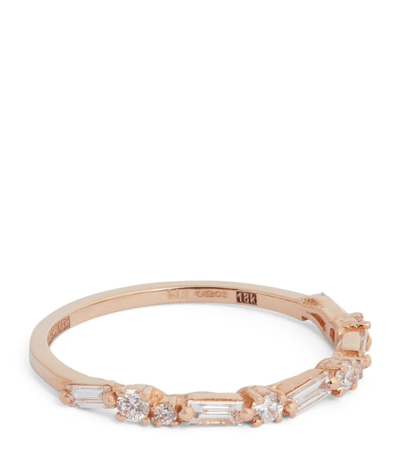 Suzanne Kalan Rose Gold And Diamond Half Fireworks Eternity Ring