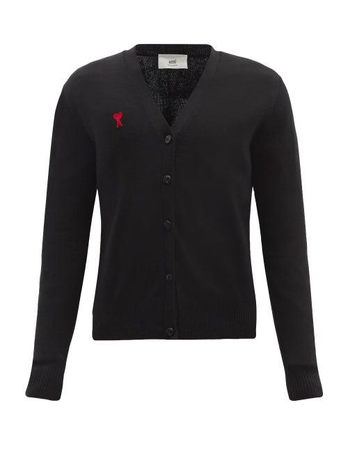 Ami - Logo-embroidered Merino-wool Cardigan - Mens - Black