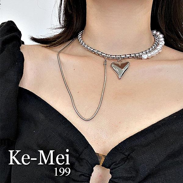 克妹Ke-Mei【AT64935】KOREA精工金屬愛心珍珠雙鎖頸鍊