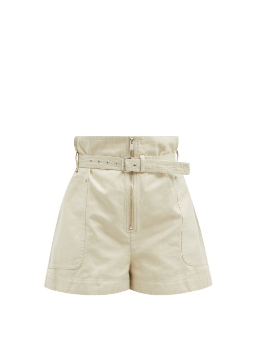 Isabel Marant Étoile - Parana Paperbag-waist Cotton-blend Shorts - Womens - Ivory