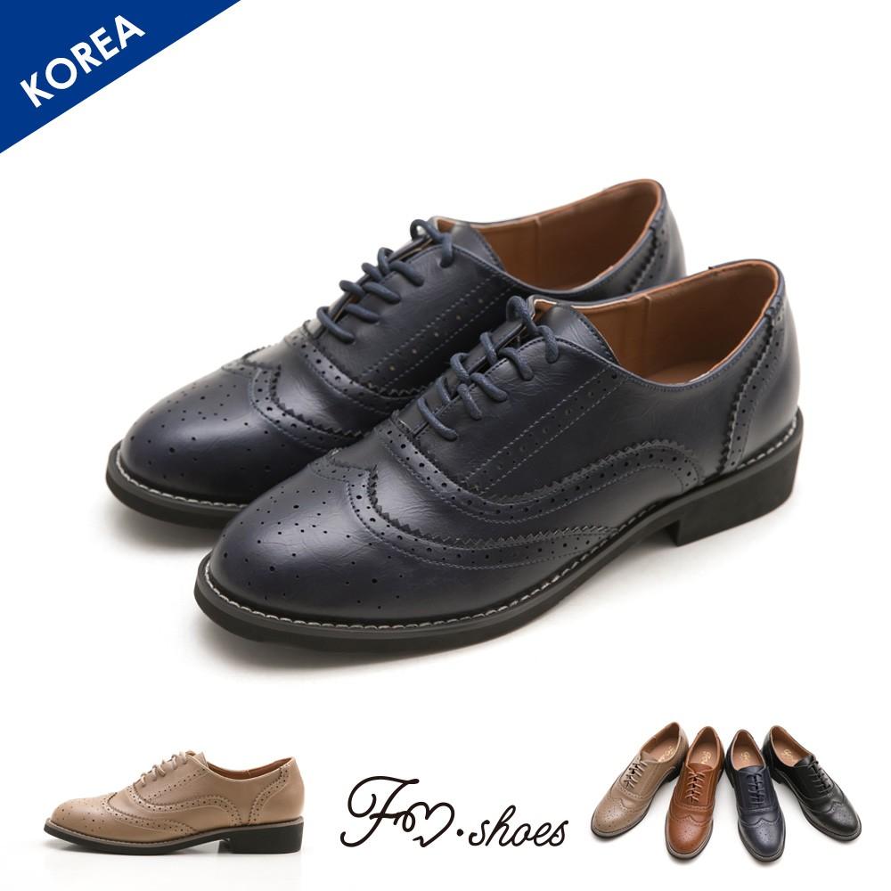 【FMSHOES】韓-翼紋雕花牛津鞋﹝藍、黑﹞-00007567