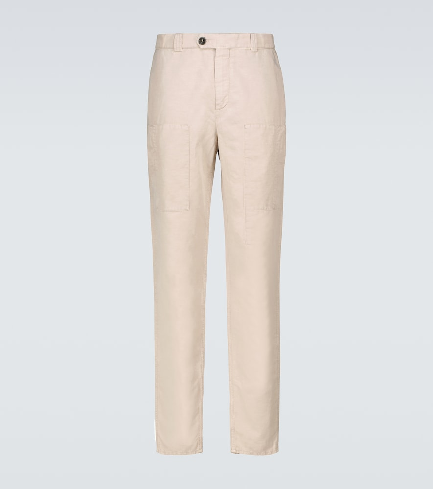 Linen and cotton cargo pants