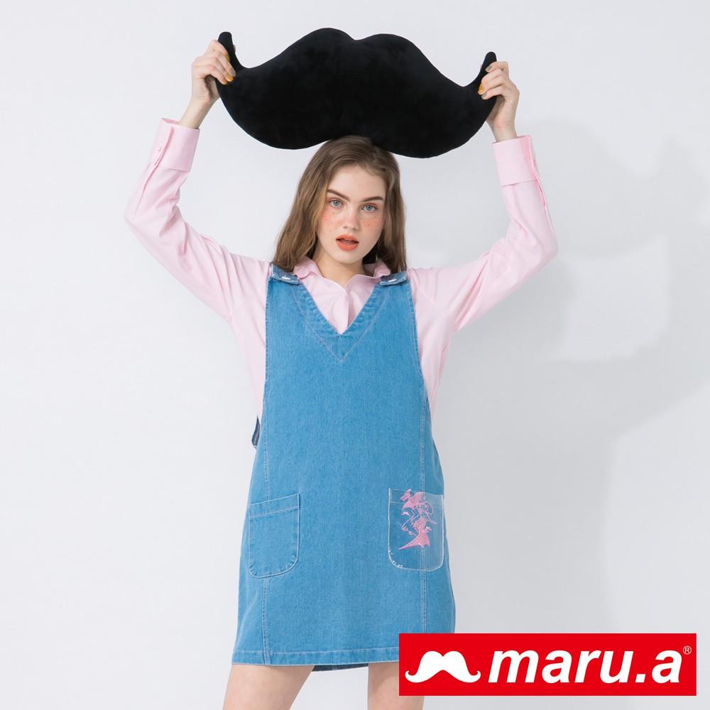 maru.a (03)透明口袋恐龍刺繡撞色車線牛仔洋裝(淺藍)