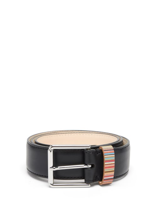 Paul Smith - Signature Stripe Leather Belt - Mens - Black Multi