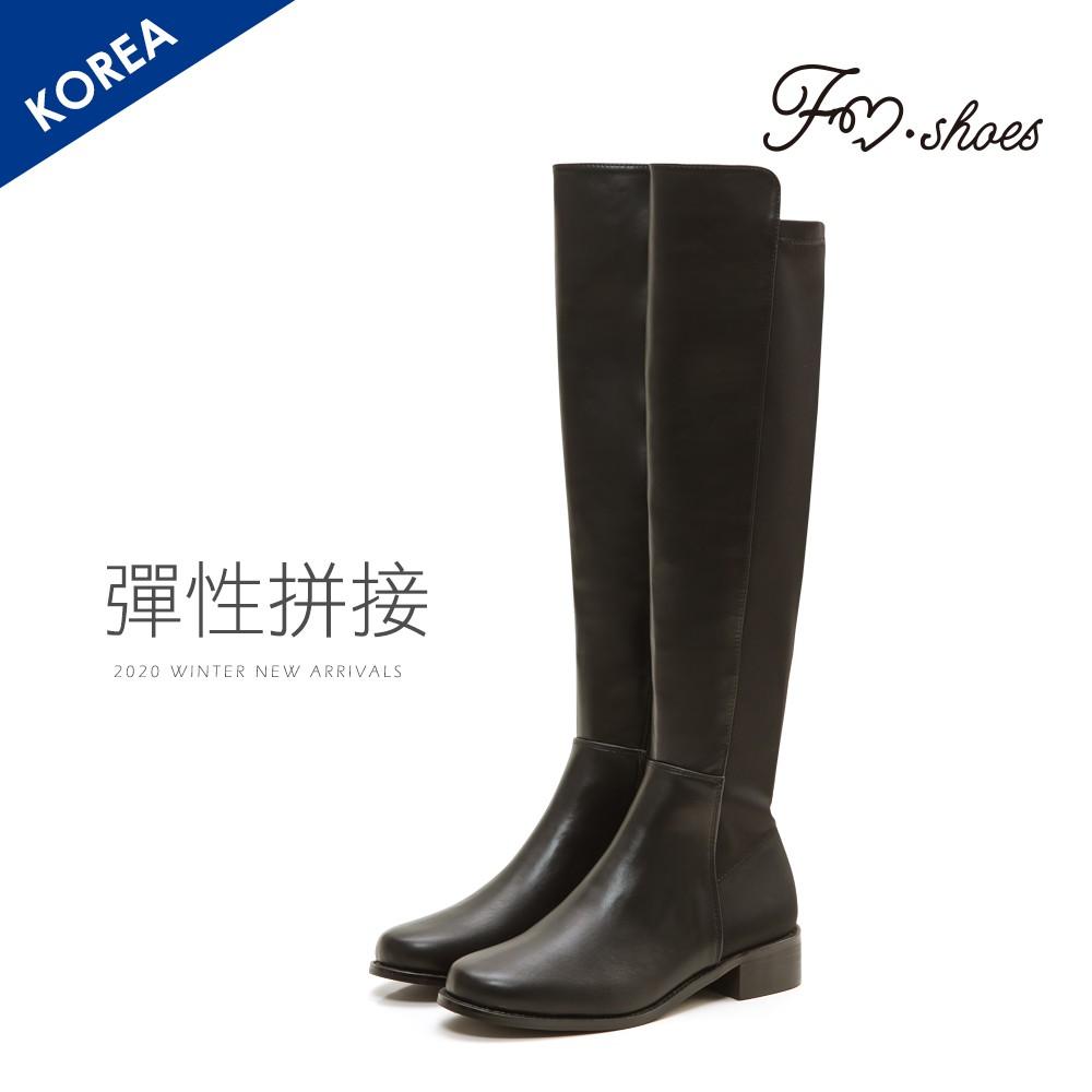 FMSHOES 韓-拼接皮革顯瘦膝上長靴-大尺碼-20007985