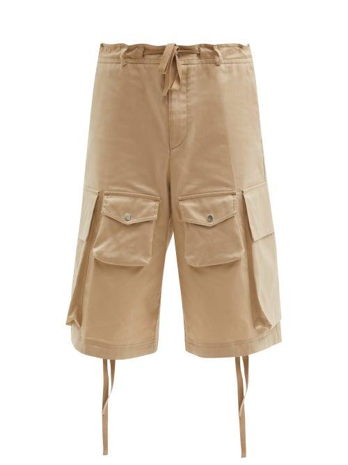 2 Moncler 1952 - Cotton-twill Wide-leg Cargo Shorts - Mens - Beige