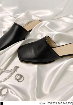 韓國空運 - 配色平底方頭穆勒鞋 樂福鞋