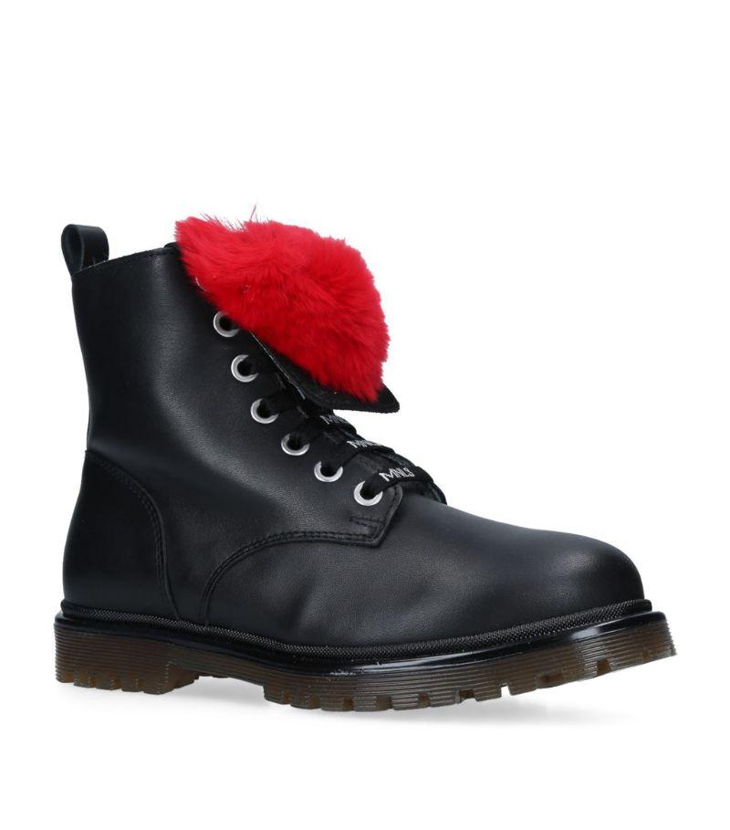 Monnalisa Heart-Embellished Leather Combat Boots