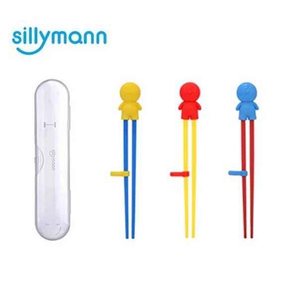 韓國 sillymann 100%鉑金矽膠兒童左右手學習筷(附防塵盒)-3色可選