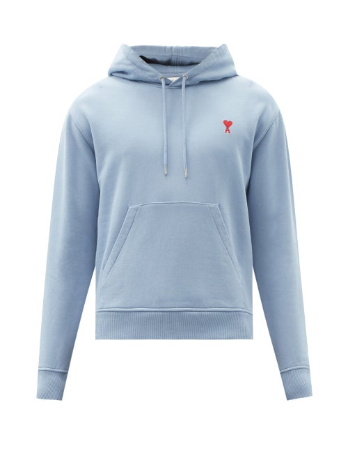 Ami - Logo-embroidered Cotton-jersey Hooded Sweatshirt - Mens - Light Blue