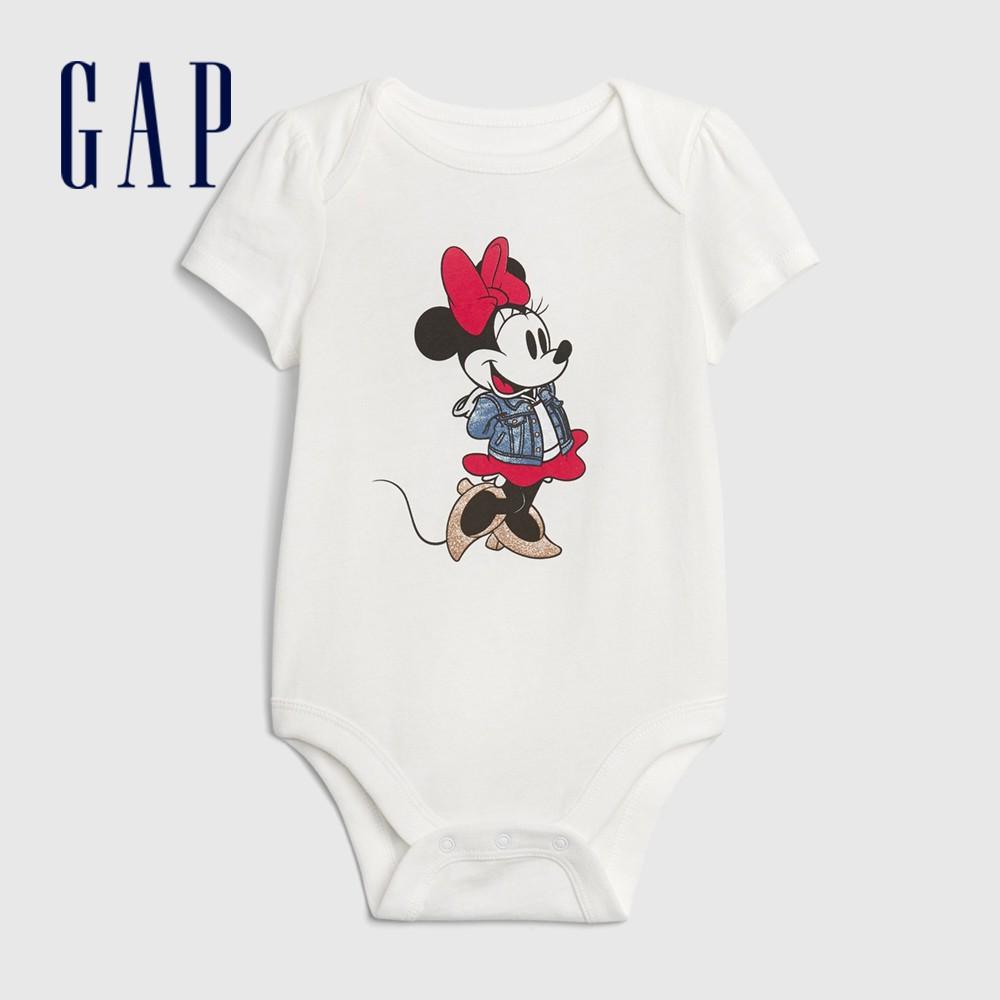 Gap 嬰兒 Gap x Disney 迪士尼短袖包屁衣 626281-白色