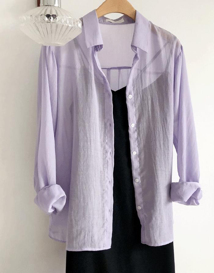 韓國空運 - See-through coloring shirt 襯衫