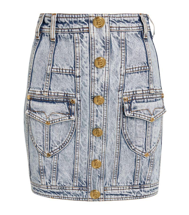 Balmain Acid Wash Denim Mini Skirt