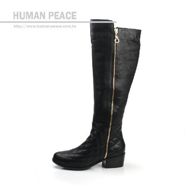 【不可超取】HUMAN PEACE 皮革 舒適 拉鍊 好穿脫 高統 長靴 靴子 戶外休閒鞋 黑色 女鞋 no348
