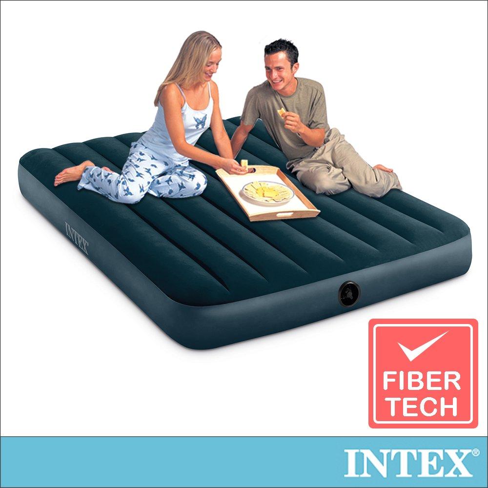 【INTEX】經典雙人(fiber-tech)充氣床墊(綠絨)-寬137cm(64108)
