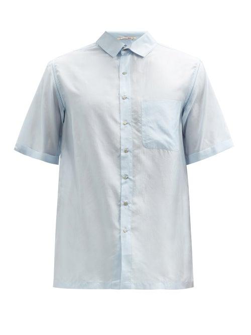 Péro - Short-sleeve Silk-voile Shirt - Mens - Light Blue